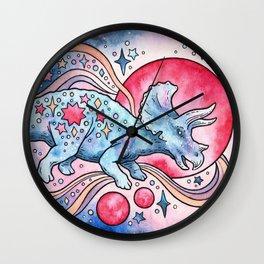 Star Tricera | Cosmic Dinosaur Watercolor Wall Clock