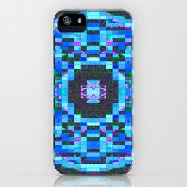 Blue-mosaic-pattern iPhone Case
