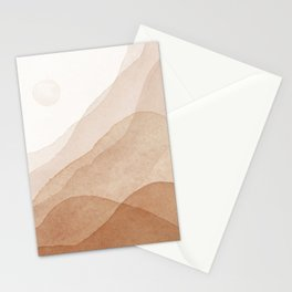 Mid Century Magic Minimal Landscape Watercolor Painting Tan Neutral Tones Mountain With Sun Bohemian Earthy Style Stationery Cards