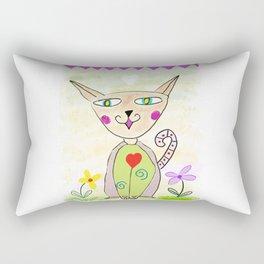 Folk Art Cat Rectangular Pillow