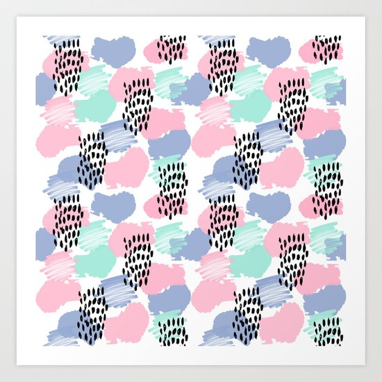 Pastel painted pattern minimal mint and pink nursery home decor patterns Art Print