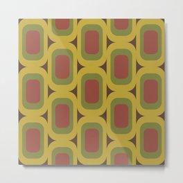 Yellow, Green & Red Retro Pattern Metal Print