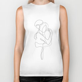 Lovers - Minimal Line Drawing Biker Tank