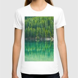Reflective Green Pine Forest With Green Turquoise Waters T-shirt