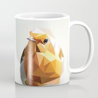 polygon Mugs featuring Polygon Robin by Andrew Mason