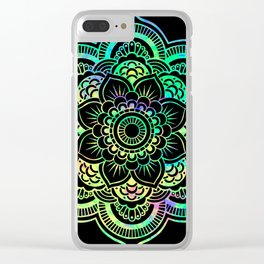 Neon Psychedelic Mandala Clear iPhone Case