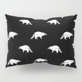 Raccoon linocut black and white animal pattern minimal basic pattern Pillow Sham