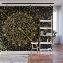 Geometric Circle Black and Gold Wall Mural
