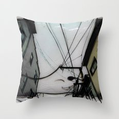 Wires in North Beach San Francisco Throw Pillow