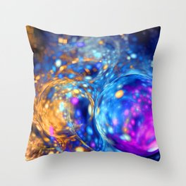 yellow and blue bubbles abstract Throw Pillow
