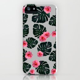 Tropical pattern n.1 - grey iPhone Case
