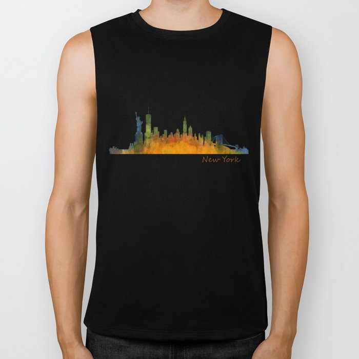 New York City Skyline Hq V01 Biker Tank