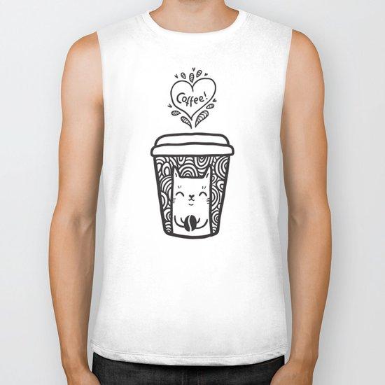 Doodle coffee cat Biker Tank