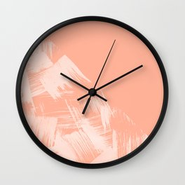 Sweet Life Paint Swipes Peach Coral Pink Wall Clock