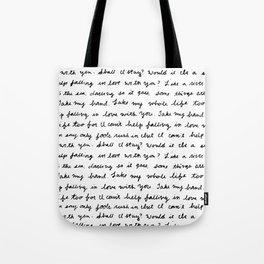 Can't Help Falling in Love Script Tote Bag