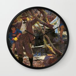 Lamorna Birch and his Daughters floral family portrait painting by Lamorna Birch Wall Clock