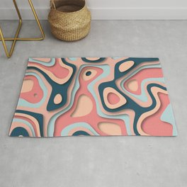 Paper cut effect abstract background Rug