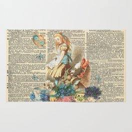 Vintage Alice In Wonderland on a Dictionary Page Rug