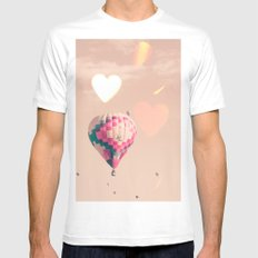 Hot air balloon nursery and heart bokeh on pale pink Mens Fitted Tee MEDIUM White