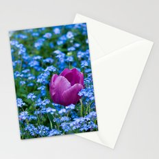 Pink Tulip in the blue Stationery Cards