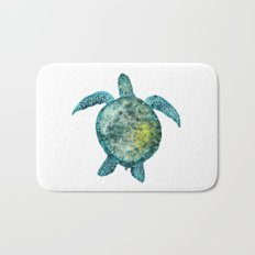 Watercolor Sea Turtle - Turquoise Bath Mat