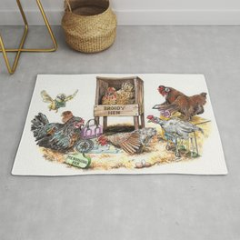 """""""Life in the Coop"""" funny chicken watercolor Rug"""