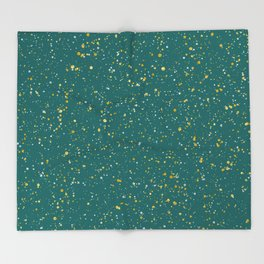 Elegant Confetti Space - Teal Green & Gold,Silver Throw Blanket