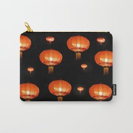 Orange chinese lampions with black background Carry-All Pouch