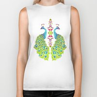 peacock Biker Tanks featuring peacock by Manoou