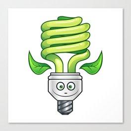 Eco Light Bulb Cartoon - Green Canvas Print