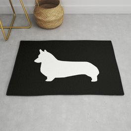 Corgi black and white welsh corgi silhouette dog breed custom dog patterns Rug