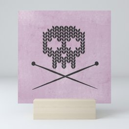 Knitted Skull (Black on Pink) Mini Art Print