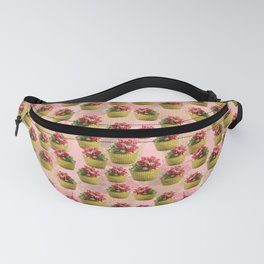 Succulent Red Flower Buttercream Cupcake Pattern on Pink Background Fanny Pack