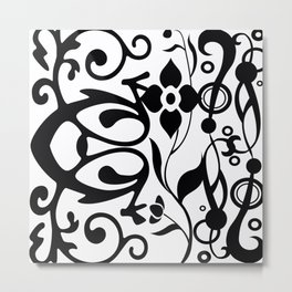 Black and White Floral Metal Print