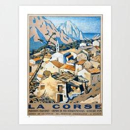 La Corse, Travel Poster French railways Art Print