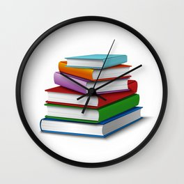 Books Stack Realistic Wall Clock