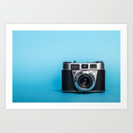 Vintage Camera On Blue Art Print