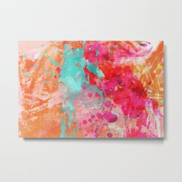Paint Splatter Turquoise Orange And Pink Metal Print