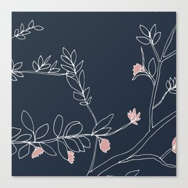 Flora, White and Pink on Navy Blue Canvas Print
