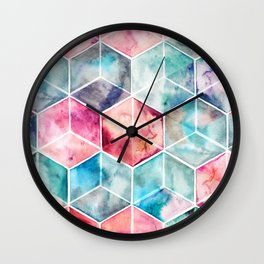 Translucent Watercolor Hexagon Cubes Wall Clock