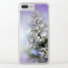 white lilac on textured background -a- Clear iPhone Case