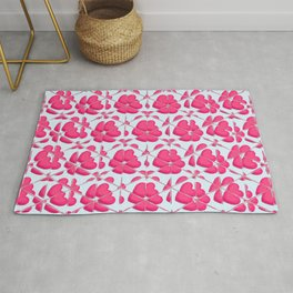 Pattern of red hearts forming the shapes of flowers on a white background Rug