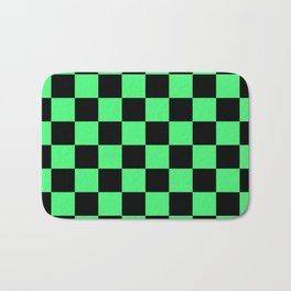 Black and Green Checkerboard Pattern Bath Mat