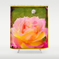zappa Shower Curtains featuring Flower and Skull by Diva Zappa