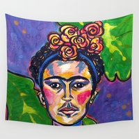 frida Wall Tapestries featuring Frida by Emily Morris