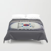 korea Duvet Covers featuring Flag of Korea by lanjee