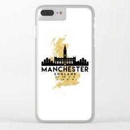 MANCHESTER ENGLAND SILHOUETTE SKYLINE MAP ART Clear iPhone Case