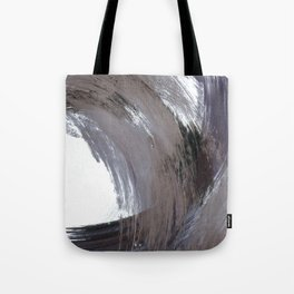 Navy Blue and Grey Minimalist Abstract Brushstroke Painting Tote Bag