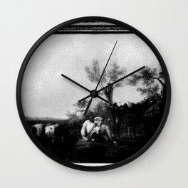 Albertus Verhoesen - Landschap met koeien Wall Clock