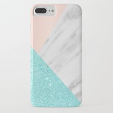 Real Italian Marble with Pink and Blue iPhone 7 Plus Slim Case
